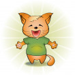 Vector illustration of a laughing cat. — Stock vektor