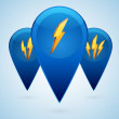Stockvektor : Vector lightning icons.