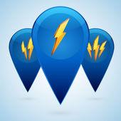 Vector lightning ikoner. — Stockvektor