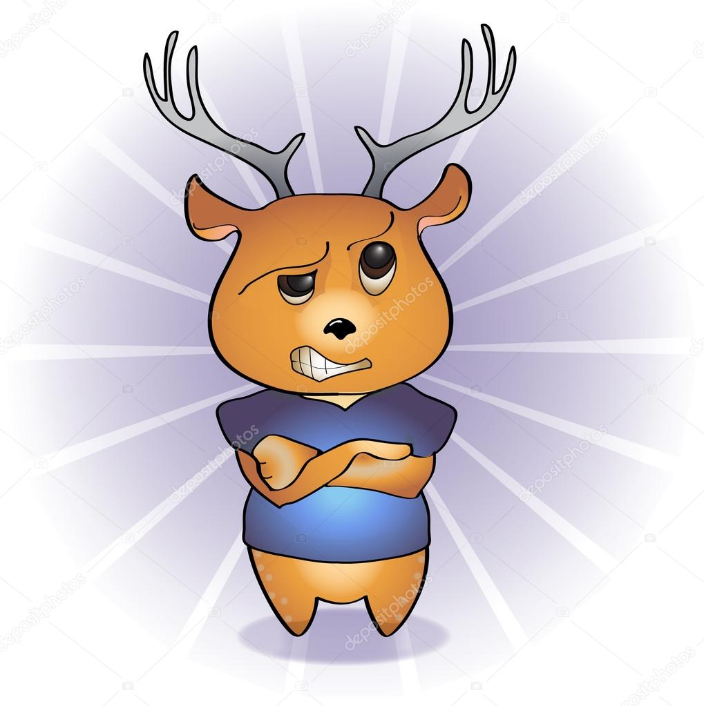 可爱鹿头 卡通画