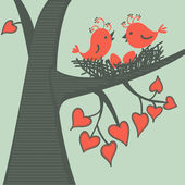 Bird on a branch in love. — Stock Vector