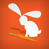 Vector white rabbit with carrot. — Stock Vector