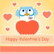 Background for Valentines day with owl. — Stock Vector