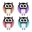 Vector set of different owls. — Stock Vector