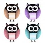 Vector set of different owls. — Stock Vector