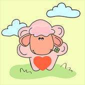 Vector illustration of a sheep with heart. — Stock Vector