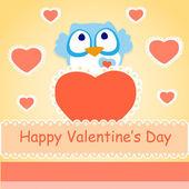Zázemí pro valentinky den s sova. — Stock vektor