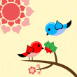 Bird in love. — Stock Vector