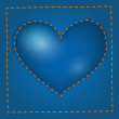 Vector blue heart with stitch. — ベクター素材ストック