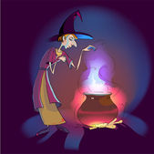 Witch with potion in the pot. — Stock Vector