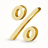 Vector gold percent sign. — Stock Vector