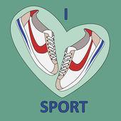 I love sport — Stock Vector