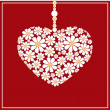 Vector greeting card with floral heart. — Imagen vectorial