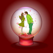 Kissing couple in magic ball. — Stock Vector