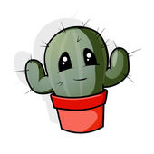 A green cartoon cactus in a pot. — Stock Vector