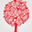 Stock Vector: Love tree made of hearts.