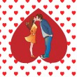 Stock Vector: Kissing couple in heart.