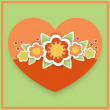 Vector greeting card with floral heart. — Stok Vektör
