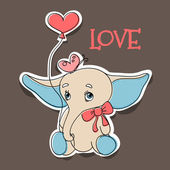 Elephant in love. — Stock Vector