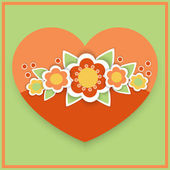 Vector greeting card with floral heart. — Stock Vector