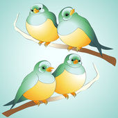 Vector cute birds. — Stock Vector