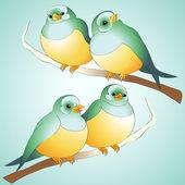 Vector cute birds. — Stock Vector