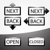Back, Next, Open and Closed buttons set. — Stock Vector