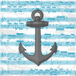 Vector anchor on a music sheet background — Stock Vector