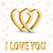 Vector background with golden hearts. — Stock Vector