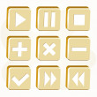 Vector set of golden buttons. — Stock Vector