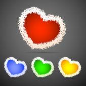 Vector set of fluffy hearts. — Stock Vector