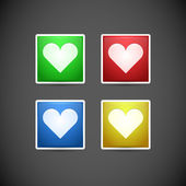 Buttons with hearts. — Stock Vector