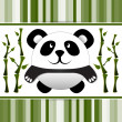 Stock Vector: Little panda and bamboo.