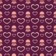 Vector background with hearts and skulls. — Stock vektor
