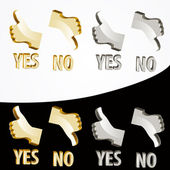Gold Yes and No signs. — Stock Vector