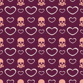 Vector background with hearts and skulls. — Cтоковый вектор