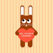 Cute rabbit with Valentine card. — Vector de stock