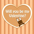 Valentine card with cute rabbit. — Stockvectorbeeld