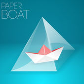 Paper boat in glass pyramid. — Stock Vector