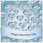 tarjeta de San Valentín hermosa con corazones de vectores — Vector de stock