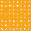 Постер, плакат: Illustration animals paws print on a yelow background