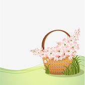 Basket with flowers for your design — Stock Vector