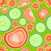 Background with tomatoes and cucumbers. — Stock Vector