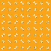 Hintergrund mit hund tatze-druck und knochen — Stockvektor