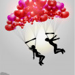 Couple flying on parachutes made of hearts — Stock Vector