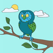 Blue owl in the daytime — Stock Vector