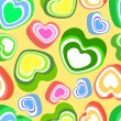 Vector background with colorful hearts. — Stock Vector