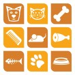 Stock Vector: Collection of pet icons