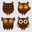 Vector set of cartoon owls. — Stock Vector
