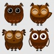 Stock Vector: Vector set of cartoon owls.